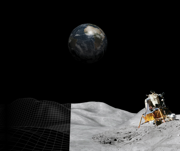 moon surface photo montage